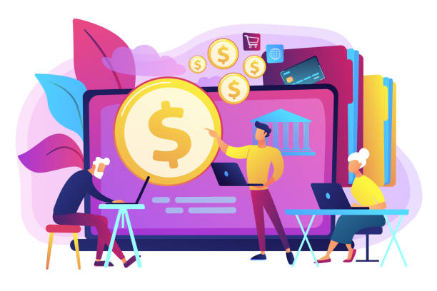 Financial literacy of retirees concept vector illustration. Financial consultant calculating pensioners fund. Financial literacy of retirees, retirement planning courses, retirement income control concept. Bright vibrant violet vector isolated illustration budget backgrounds stock illustrations