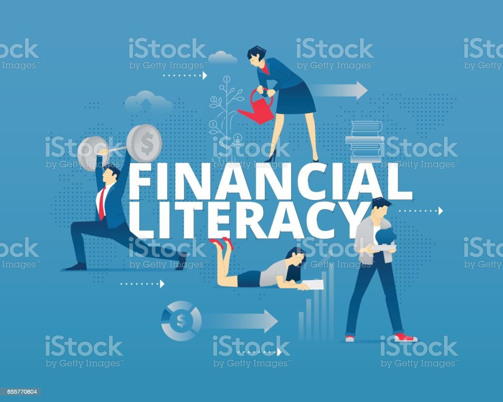Financial literacy typographic poster vector art illustration