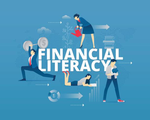 Financial literacy typographic poster Visual metaphor of modern financial education. Young men and women faceless characters in different movements around words FINANCIAL LITERACY. Vector illustration isolated on blue background spelling stock illustrations
