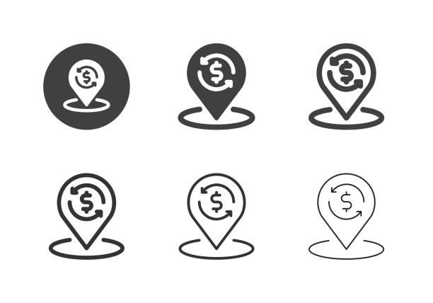 Financial Location Icons - Multi Series vector art illustration