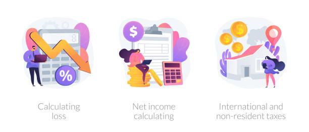 finanzielle verlust- und ertragsvektorkonzept-metaphern - storytelling grafiken stock-grafiken, -clipart, -cartoons und -symbole