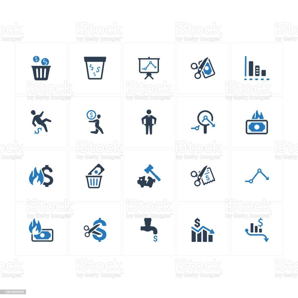 Financial Loss Icons - Blue Version vector art illustration