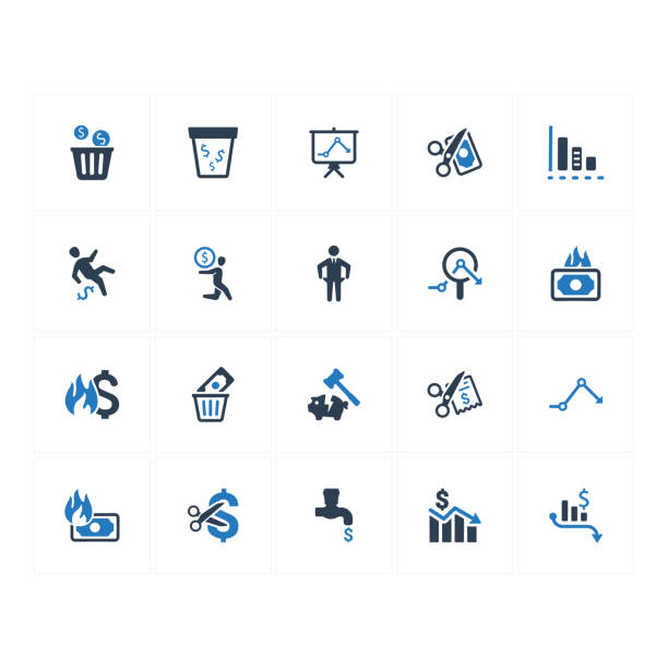 financial loss icons - blue version - lost stock illustrations