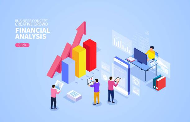 Finanzmanagement und Finanzdatenanalyse – Vektorgrafik