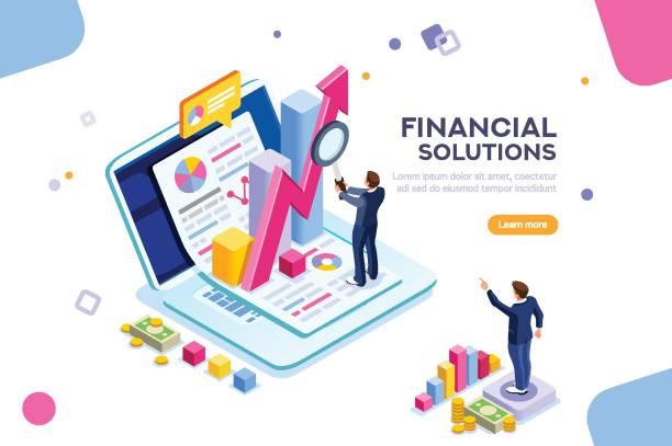 stockillustraties, clipart, cartoons en iconen met financieel beheer concept vector - financieel adviseur