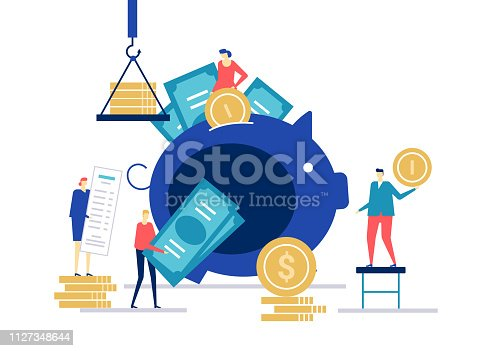 Financial management - flat design style colorful illustration on white background. Composition with male, female characters putting coins into a piggy bank, banknotes, receipt. Money saving concept