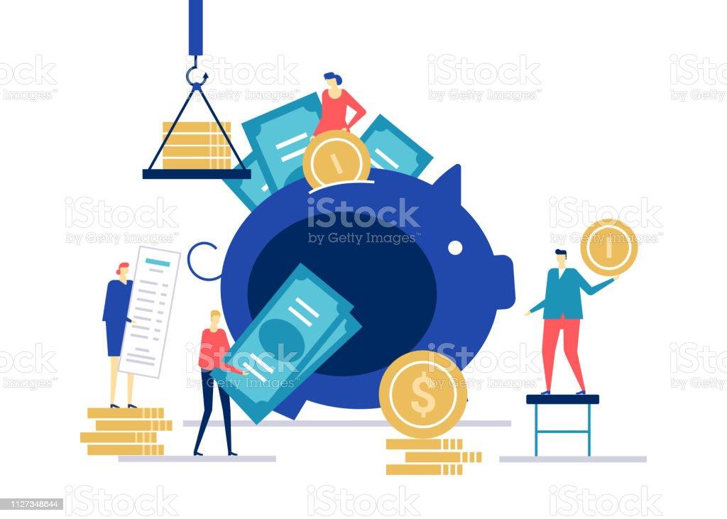Finanzmanagement - flaches Design Stil bunte illustration – Vektorgrafik