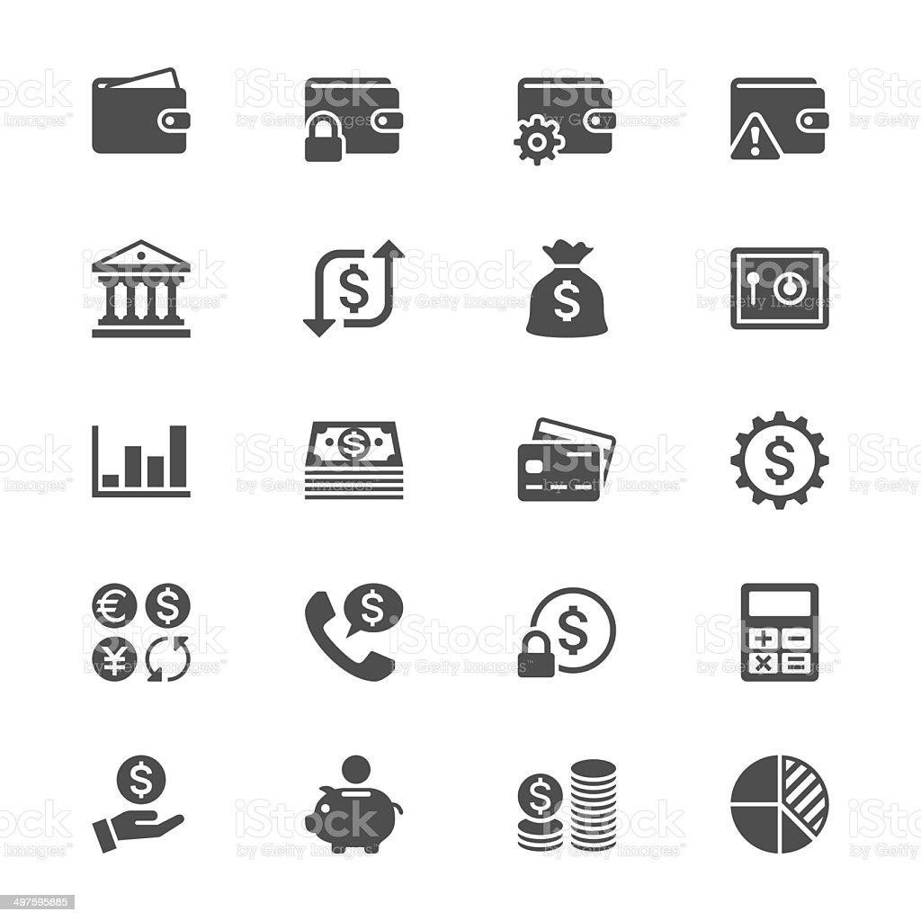 Financial management flat icons vector art illustration