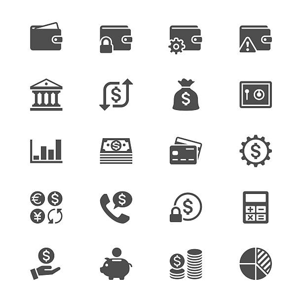 Finanzverwaltung flache Symbole – Vektorgrafik