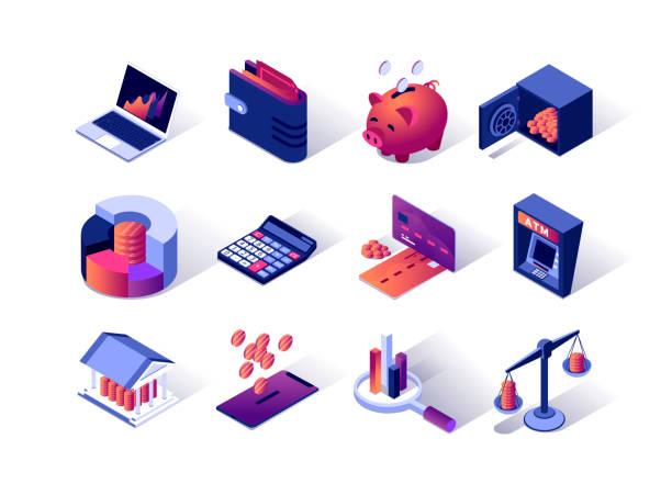 stockillustraties, clipart, cartoons en iconen met financieel beheer isometrische pictogrammen set. creditcard, atm terminal, portemonnee, spaarpot, rekenmachine en bank kluis. - isometric icons