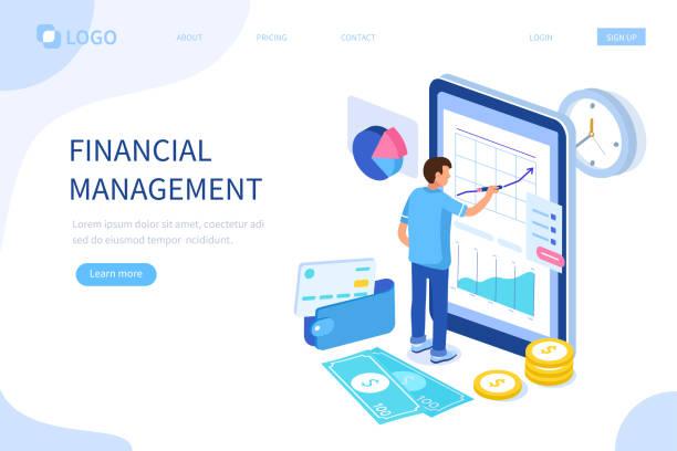 ilustrações, clipart, desenhos animados e ícones de gestão financeira - banco edifício financeiro