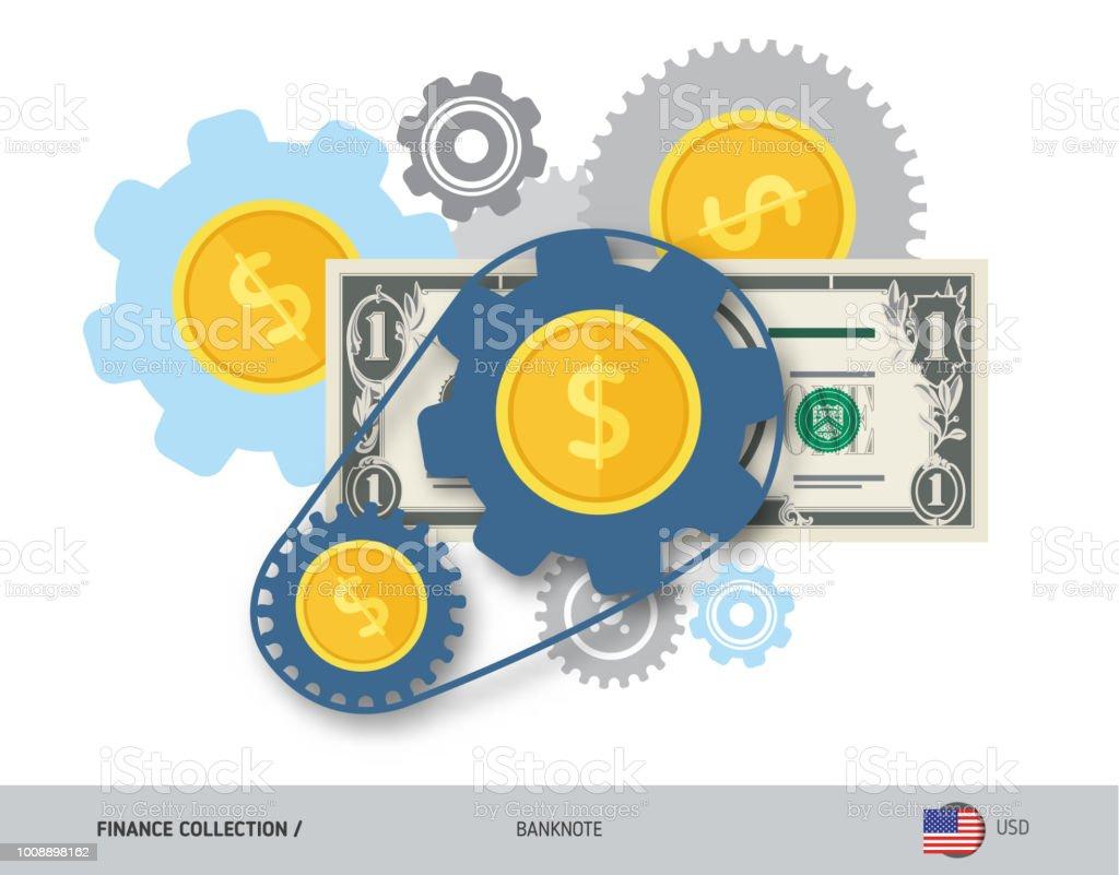 Finanzierungsmechanismus Mit 1 Usdollarbanknoten Und Münzen Flachen