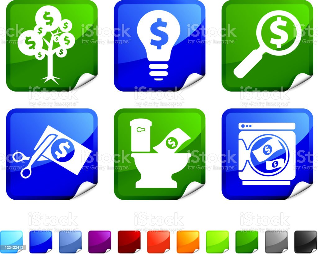 financial money concepts royalty free vector icon set stickers vector art illustration