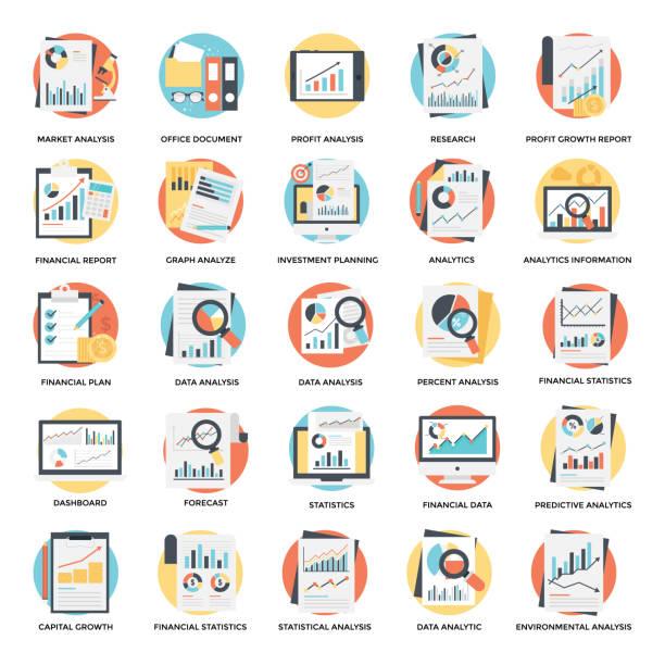 ilustraciones, imágenes clip art, dibujos animados e iconos de stock de seguimiento financiero y análisis gráfico planos icons set - planificación financiera
