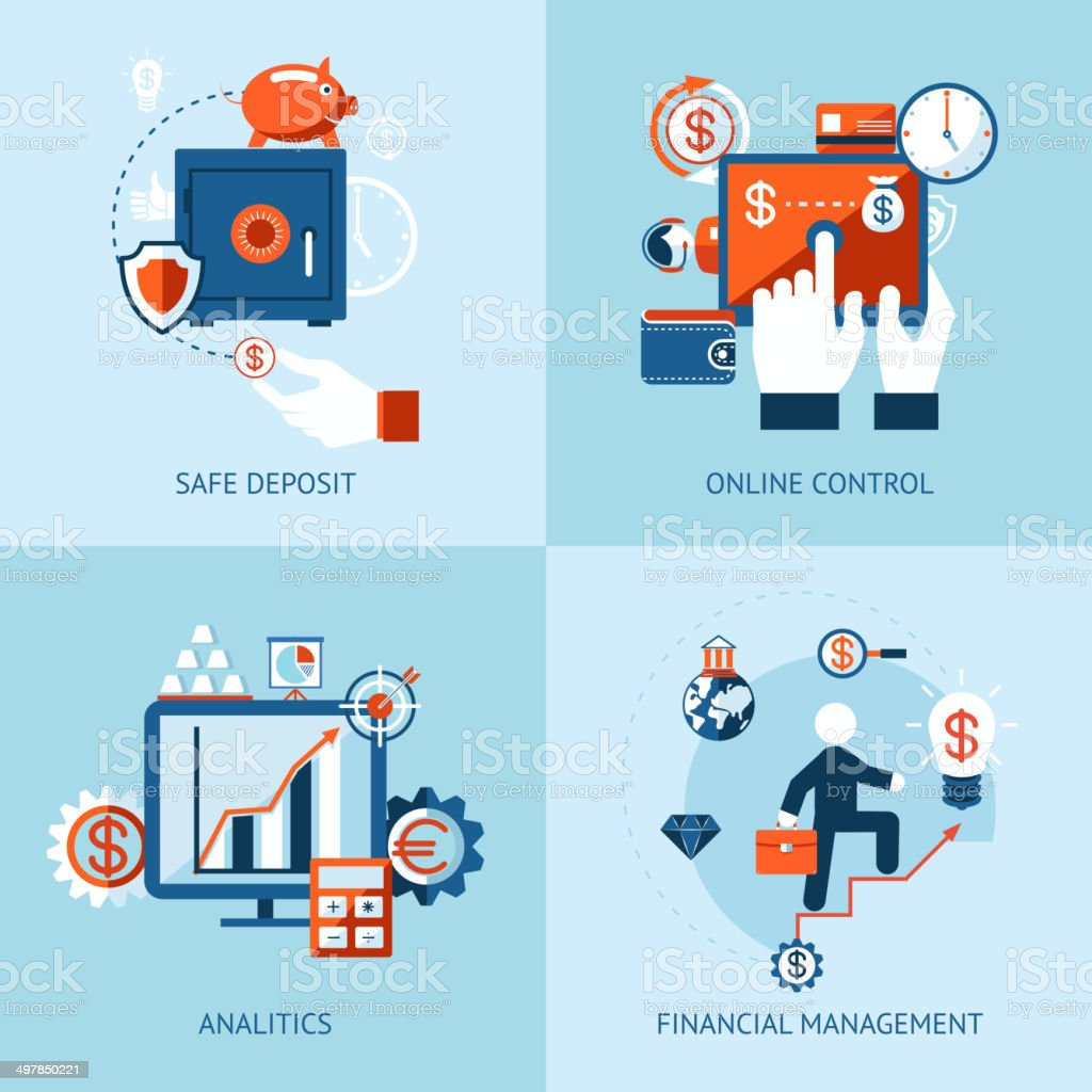 Financial online banking and payment control vector art illustration