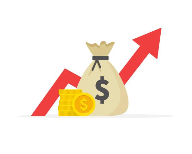 illustrazioni stock, clip art, cartoni animati e icone di tendenza di performance finanziaria, produttività aziendale in dollari, rapporto statistico, fondo comune di investimento, ritorno sull'investimento, consolidamento finanziario, pianificazione e gestione del budget, concetto di crescita del reddito. - guadagnare soldi