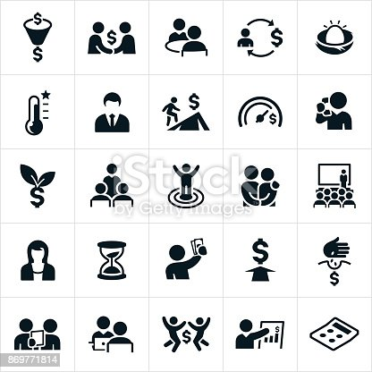 A set of financial planning icons. The icons include financial planners, saving for the future, investing, financial goals and other related concepts.