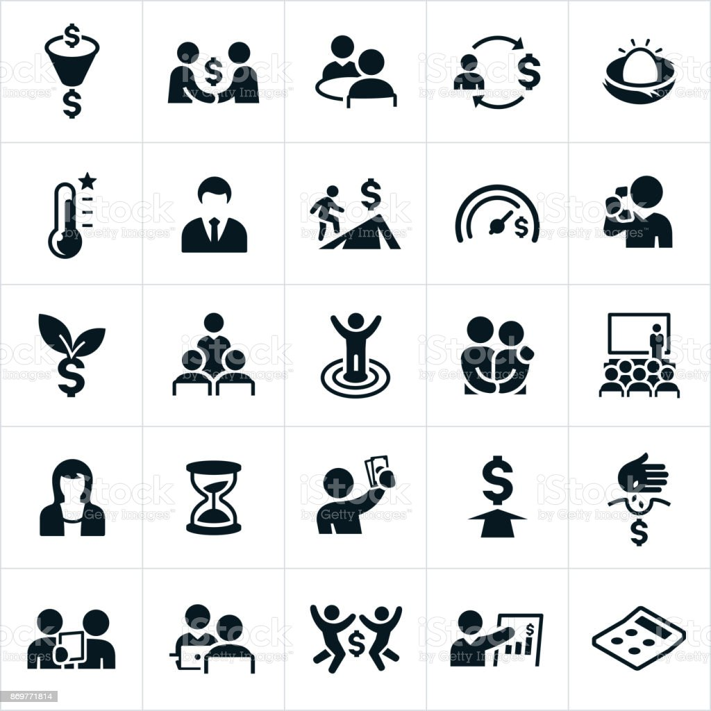 Iconos de planificación financiera - ilustración de arte vectorial