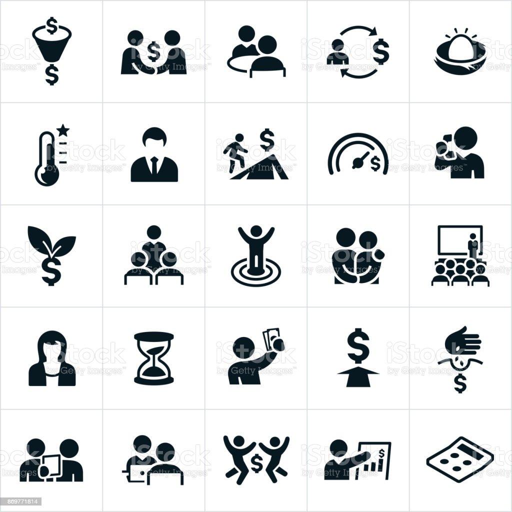 Finanzielle Planung Icons – Vektorgrafik