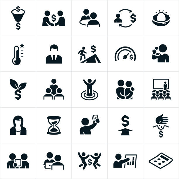 financial planning icons - accountant stock illustrations, clip art, cartoons, & icons