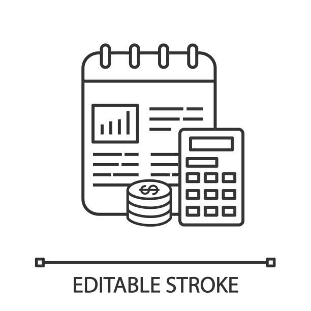 Financial planning linear icon Financial planning linear icon. Thin line illustration. Budgeting. Funding and financing. Financial accounting and bookkeeping. Cost calculation. Contour vector isolated drawing. Editable stroke financial planning stock illustrations
