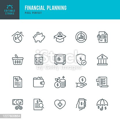 Financial Planning - thin line vector icon set. 20 linear icon. Pixel perfect. Editable outline stroke. The set contains icons: Financial Planning, Piggy Bank, Savings, Economy, Insurance, Bank Deposit Slip, Home Finances.