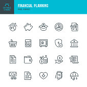 Financial Planning - thin line vector icon set. 20 linear icon. Pixel perfect. Editable outline stroke. The set contains icons: Financial Planning, Piggy Bank, Savings, Economy, Insurance, Bank Deposit Slip, Home Finances.