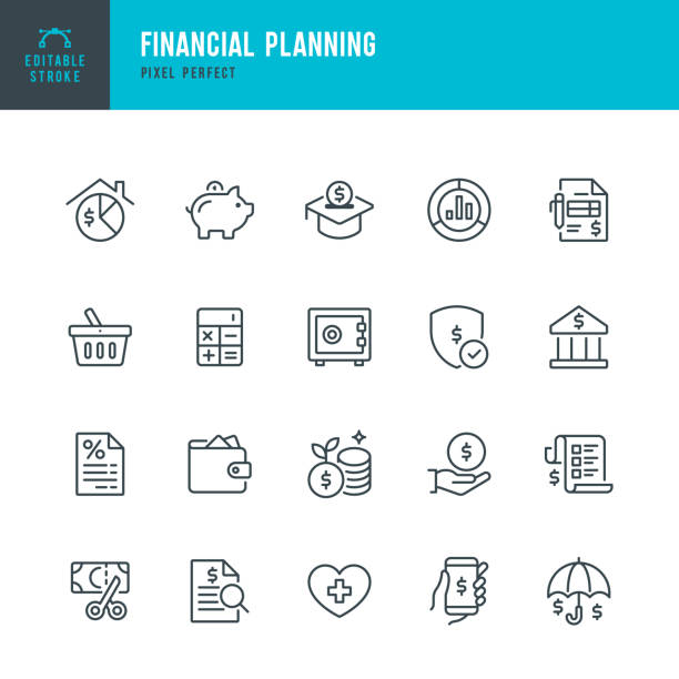 Financial Planning - thin line vector icon set. Pixel perfect. The set contains icons: Financial Planning, Piggy Bank, Savings, Economy, Insurance, Home Finances. Financial Planning - thin line vector icon set. 20 linear icon. Pixel perfect. Editable outline stroke. The set contains icons: Financial Planning, Piggy Bank, Savings, Economy, Insurance, Bank Deposit Slip, Home Finances. conceptual symbol stock illustrations