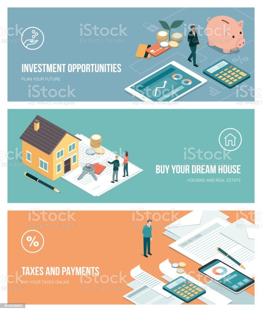Investissements et plans financiers investissements et plans financiers vecteurs libres de droits et plus d'images vectorielles de achat à domicile libre de droits