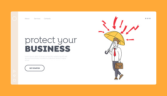 Financial Protection, Security, Insurance Landing Page Template. Businessman Character Stand under Umbrella, Safety