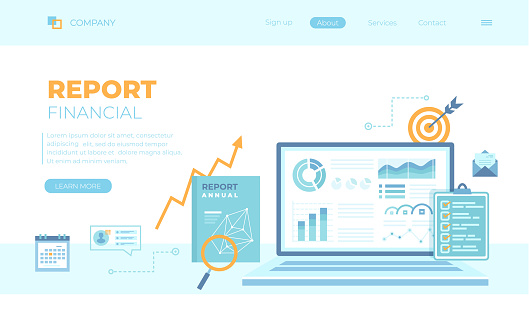 Financial Report. Accounting, analysis, audit, research, results. Laptop with graphs and charts on the screen, clipboard, report, target, calendar, magnifier.Can use for web banner, landing page, web