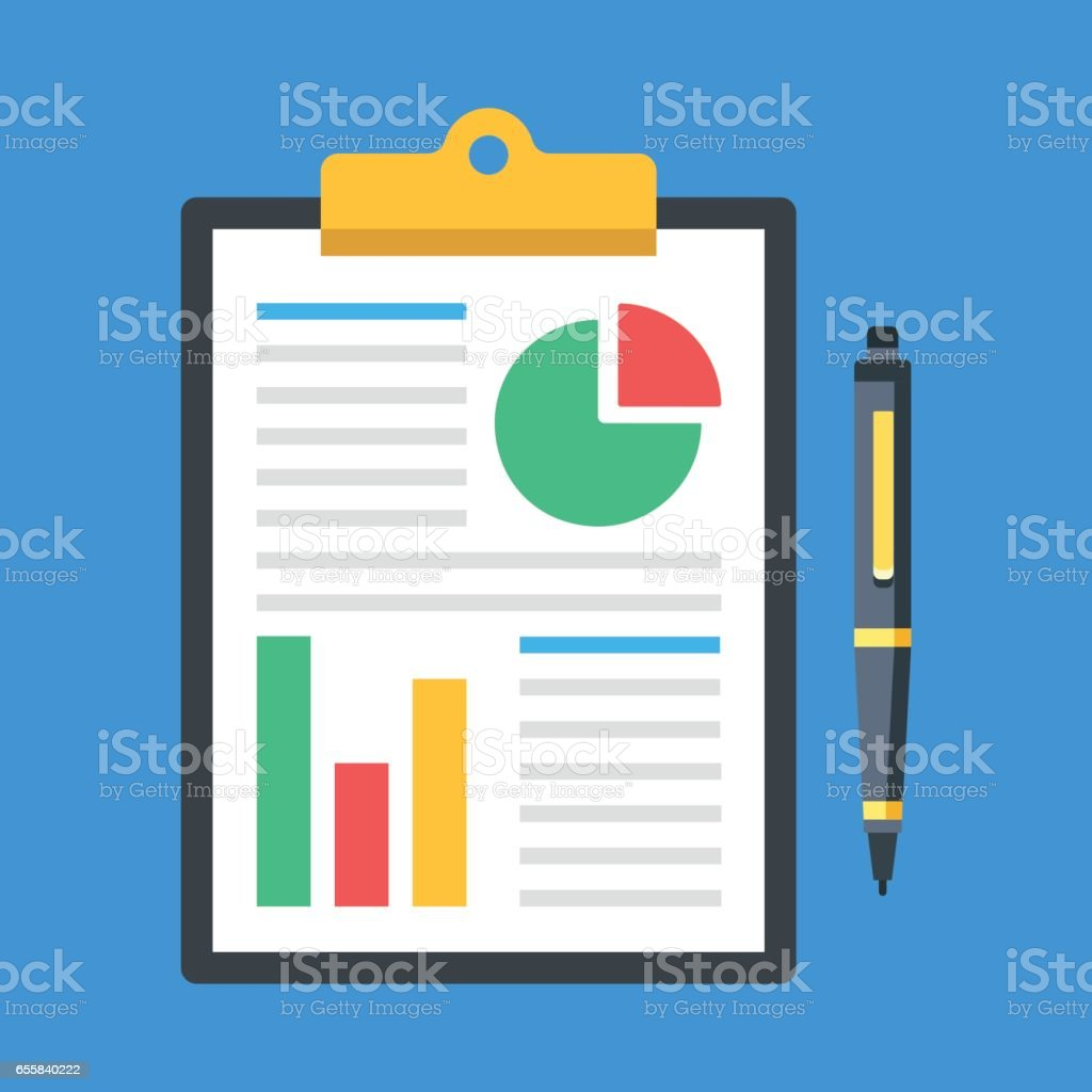 Financial report, business report concepts. Clipboard with financial data, charts, graphs and pen. Top view. Modern flat design graphic elements. Vector illustration vector art illustration