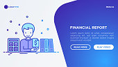 Financial report concept: accountant with calculator and financial documents in folders. Modern vector illustration, web page template on gradient background.