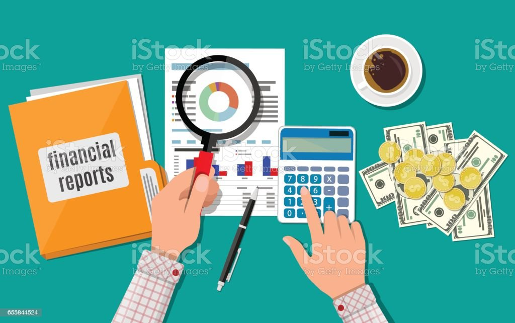 Financial report concept. Business background vector art illustration
