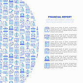Financial report concept with thin line icons: bank, financial analytics, calculate, signature, email, presentation, bank check, audit, calendar, income, balance. Modern vector illustration.
