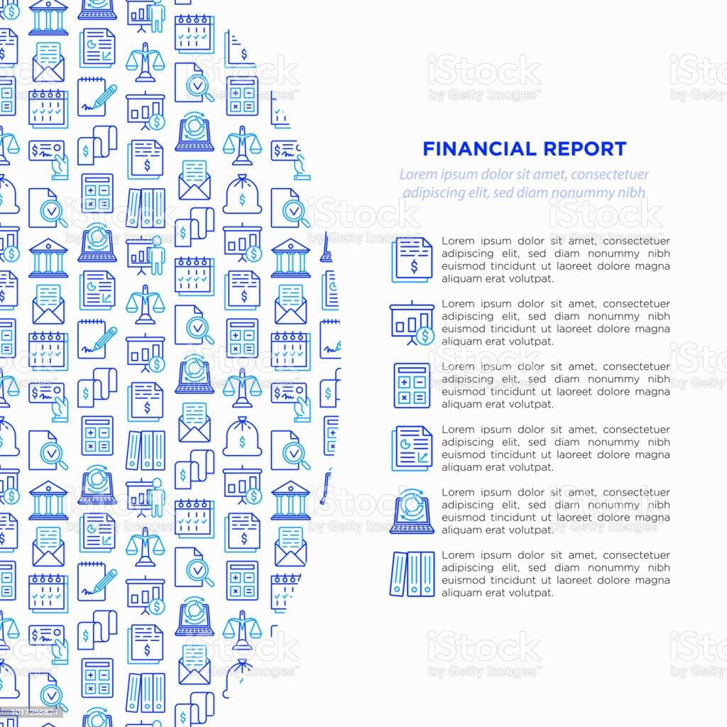 Conceito de relatório financeiro com ícones de linha fina: banco, análise financeira, calcular, assinatura, email, apresentação, cheque bancário, auditoria, calendário, renda, equilíbrio. Ilustração em vetor moderno. - ilustração de arte em vetor