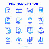 Financial report thin line icons set: bank, financial analytics, calculate, signature, email, presentation, bank check, audit, calendar, income, balance, check tape, bookkeeping. Vector illustration.