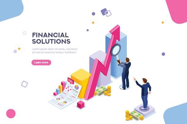ilustrações, clipart, desenhos animados e ícones de investigação financeira conceito vetor - capitel