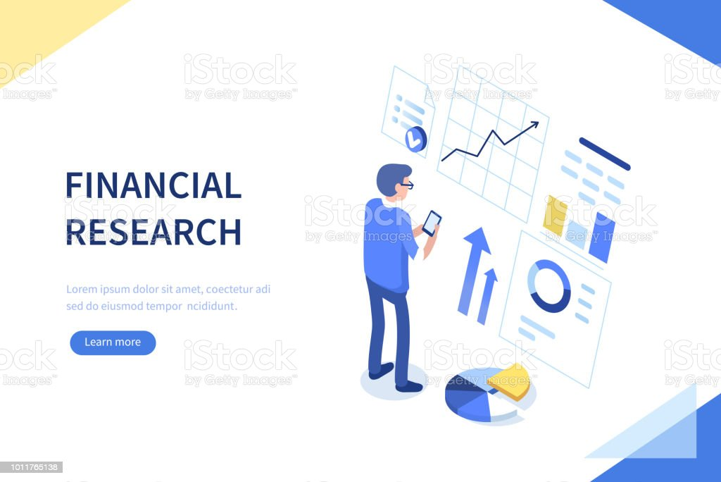 financial research vector art illustration