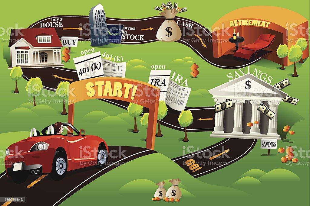 Financial roadmap vector art illustration