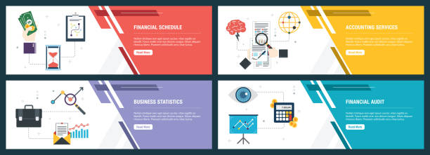 Financial schedule, accounting services, business statistics, financial audit. Vector set of vertical web banners with financial schedule, accounting services, business statistics, financial audit. Vector banner template for website and mobile app development with icon set. banner ads templates stock illustrations