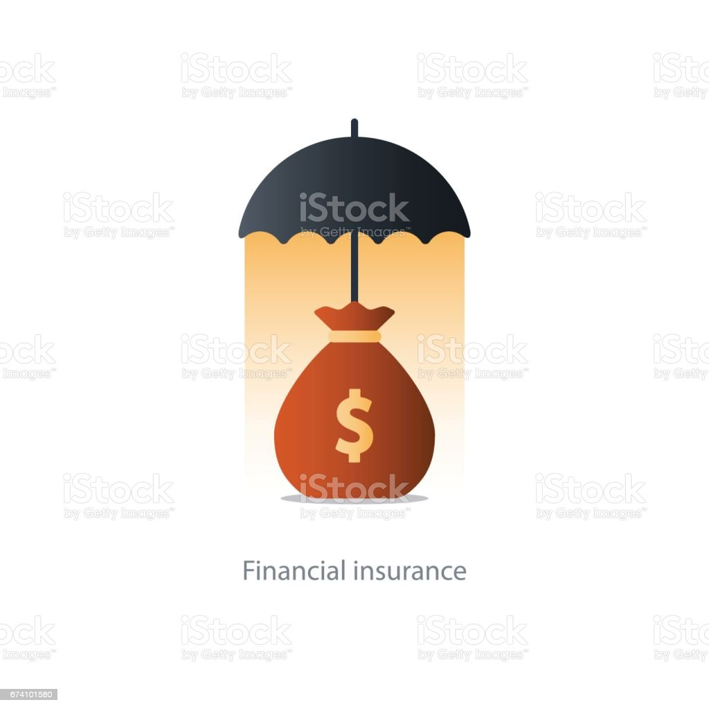 Financial security concept, money bag and umbrella royalty-free financial security concept money bag and umbrella stock vector art & more images of budget