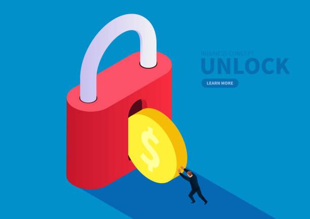 finanzielle sicherheit, der händler schiebt die goldmünze in die schleuse - mann tür heimlich stock-grafiken, -clipart, -cartoons und -symbole