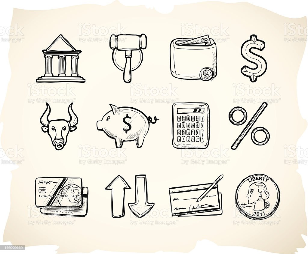 Financial sketch icons