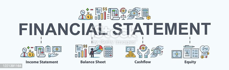 Financial statement banner web icon for business organization, profit, loss, income statement, balance sheet, cash flow and equity. Minimal vector cartoon infographic.