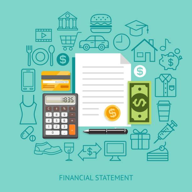 Déclaration financière conceptuel de Style appartement. - Illustration vectorielle