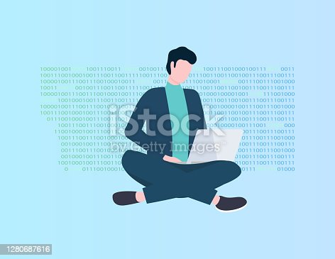Program coding, man with laptop vector, programmer or IT specialist. Modern technologies, application development, guy in office suit with computer