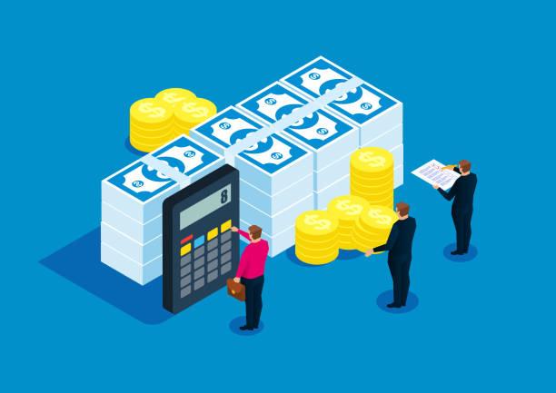 ilustrações, clipart, desenhos animados e ícones de estatísticas financeiras, contabilista, cálculo de contas - empréstimo