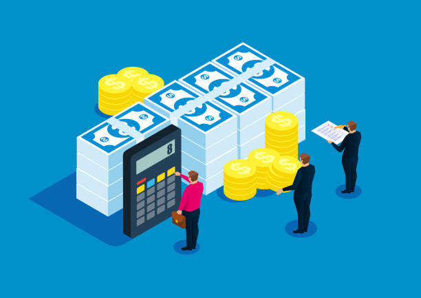 illustrazioni stock, clip art, cartoni animati e icone di tendenza di financial statistics, accountant, bill calculation - calcolatrice