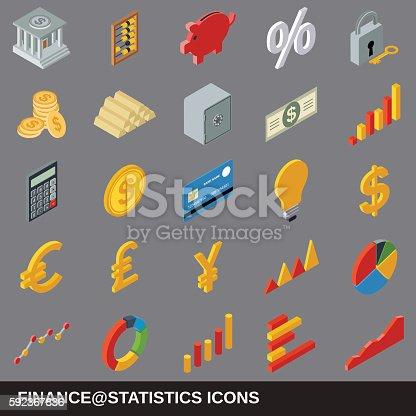 Financial statistics flat isometric icons
